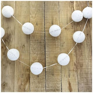 Funcart White Paper Lanterns Pom Poms and Honeycomb Ball 4 for Wedding Birthday Party Decoration  (Pack of 8pcs/pack)