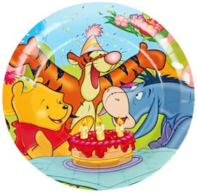 Funcart Winnie The Pooh Theme Disposable Paper Plate( Pack Of 6)
