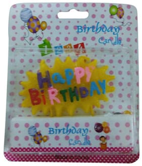 Funcart YELLOW CLOUD SHAP HAPPY BIRTHDAY CANDLE