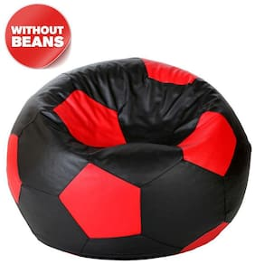 FUNKY STORES Leather Football Bean Bag without Fillers (XXXL, Black and Red)