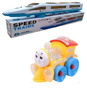 Funny Musical emu Train & small engine with Flashing Lights;Bump And Go Action (Multicolor)