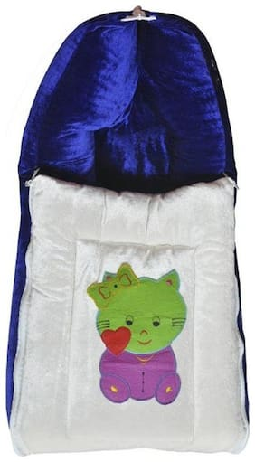 G&K 3 in 1 Baby Velvet Bed Cum Sleeping Bag, Carry Bag, 0-8 Months.(Violet Kitty).