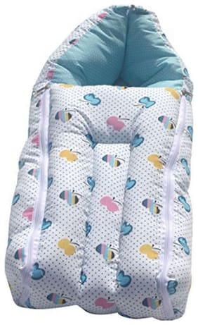 G&K 3 in 1 Baby Cotton Bed Cum Sleeping Bag, Carry Bag, 0-8 Months.(Blue Apple).