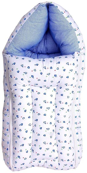 G&K 3 in 1 Baby Cotton Bed Cum Sleeping Bag, Carry Bag, 0-8 Months.(Blue).