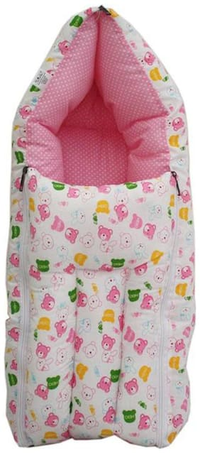 G&K 3 in 1 Baby Cotton Bed Cum Sleeping Bag, Carry Bag, 0-8 Months.(Pink Teddy).