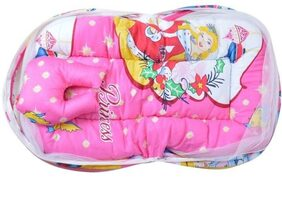 G&K Bedding Set with Thick Base Foldable Mattress, Pillow and Zip Closure Mosquito Net (6-12 Months) Pink Princess.
