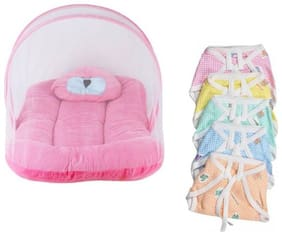 G&K Combo of Velvet Baby Mattress with Mosquito Net, panda pillow& 5 Nappies, 0-8 months.(Pink Bear)