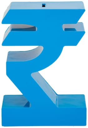 Gadge Blue Rupee Styled Money Bank For Kids