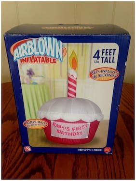 Gemmy 4ft airblown inflatable happy birthday cupcake & removable banner 1st girl