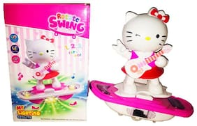 GETITBAE Kitty Rotate Swing Skateboard with LED Flashing Lights Toy for Kids
