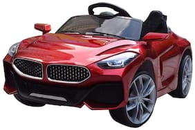 GettBoles GetBest GetBolles Z4 Electric Ride on Car for Kids with Rechargeable 12V Battery, Music, Lights and Swing (Metallic Red)