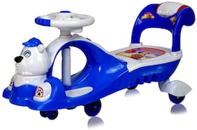 GettBoles GetBest Wiggle Smoothest Twister Swing Car- Magic Ride on Car for Kids with Led Lights and Back Storage, Blue