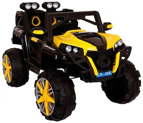 GettBoles LittleFlyer Liitle Flyer 4X4 1188 Rechargeable Battery Operated Electric Ride on Jeep for Kids with Music, Spring Suspension, Swing and Remote Control, Yellow