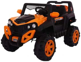 GettBoles LittleFlyer Little Flyer Wheeler Rechargeable Battery Operated Electric Ride on Jeep with Swing, Music, Spring Suspension and Remote Control, Orange