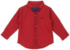 Gini & Jony Cotton Solid Shirt for Baby Boy - Red