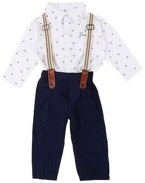Gini & Jony Baby boy Cotton Printed Body suit - White