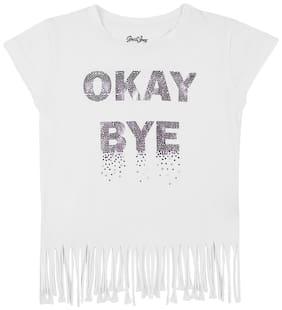 Gini & Jony Cotton Printed T shirt for Baby Girl - White