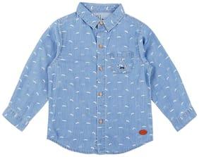 Gini & Jony Denim Self design Shirt for Baby Boy - Blue