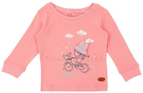 Gini & Jony Cotton Solid T shirt for Baby Girl - Pink