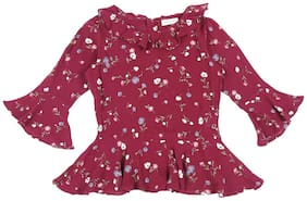 Gini & Jony Cotton Floral T shirt for Baby Girl - Maroon