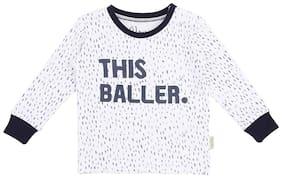 Gini & Jony Cotton Self design T shirt for Baby Boy - White