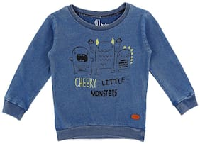 Gini & Jony Cotton Solid T shirt for Baby Boy - Blue