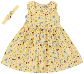 Gini & Jony Baby girl Cotton Printed Princess frock - Yellow