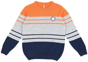 Gini & Jony Boy Polyester Striped Sweater - Orange