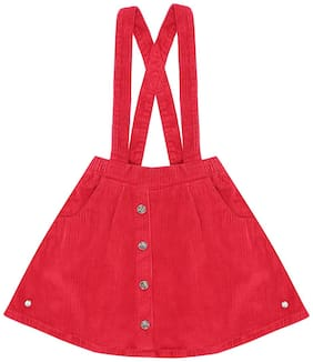 Gini & Jony Girl Cotton Solid Skorts - Red