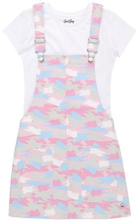 Gini & Jony Cotton Printed Dungaree For Girl - Pink
