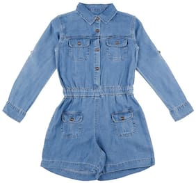 Gini & Jony Denim Solid Dungaree For Girl - Blue