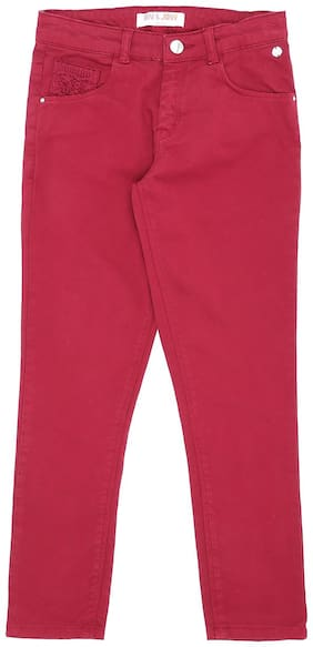 Gini & Jony Basic Slim fit Jeans for Girls - Maroon