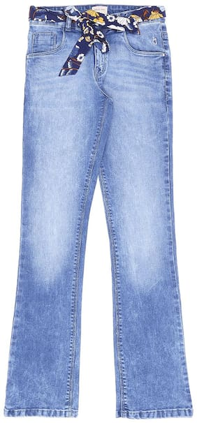 Gini & Jony Basic Straight fit Jeans for Girls - Blue