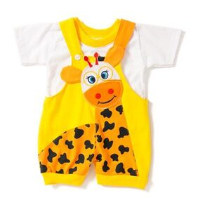 GIRAFFE Patch YELLOW Infant Dungaree With T-Shirt