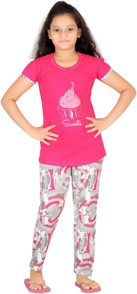 Girl's Cotton Night Suit By Fashion Fever