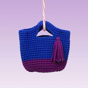 Girl's Hand-Knitted Tassel Shopper Bag (Royal Blue/ Deep Purple)