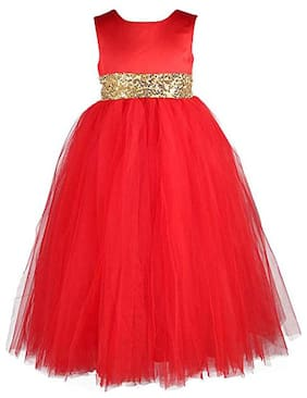 KITTY FASHION Net Solid Frock - Red