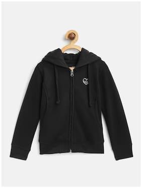 Cayman Girl Cotton Solid Winter jacket - Black