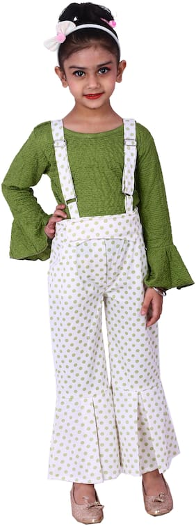 Elendra jeans Girl Cotton blend Top & Bottom Set - Green & White