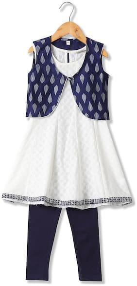 Karigari Girl's Cotton Printed Sleeveless Kurti & salwar set - Multi