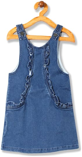 CHEROKEE Cotton blend Solid Dungaree For Girl - Blue