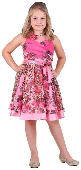 Cutecumber Multi Blended Sleeveless Knee Length Princess Frock ( Pack of 1 )