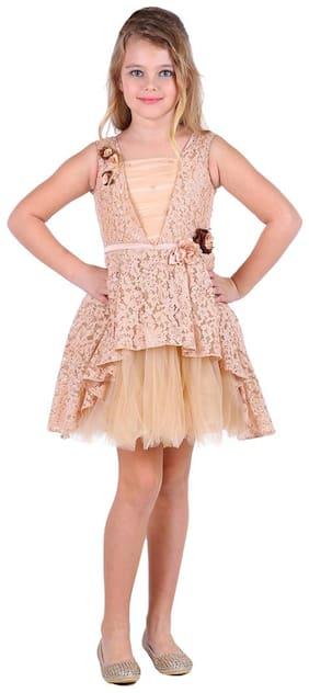 Cutecumber Brown Cotton Short Sleeves Above Knee Princess Frock ( Pack of 1 )
