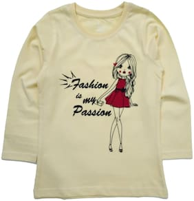 KiddoPanti Girl Cotton Printed T shirt - Beige