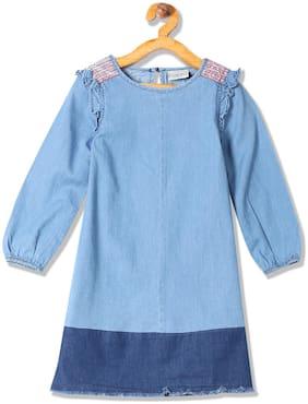 Girls Frayed Hem Denim Dress