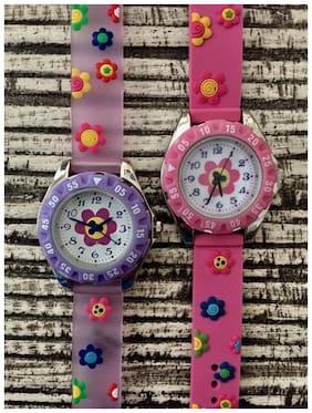 Girls Kids Silicone Rubber Jelly Geneva Flower Daisey Watch Pink Purple Lavender