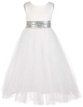 KITTY FASHION Net Solid Frock - White