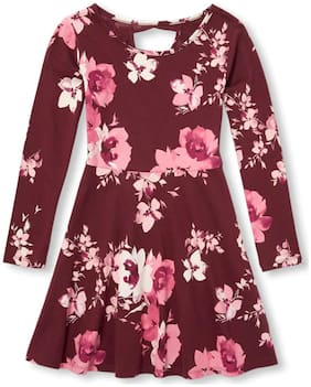 THE CHILDREN'S PLACE Red Cotton Full Sleeves Knee Length Princess Frock ( Pack of 1 )