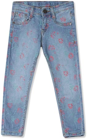 Girls Mid Rise Printed Jeans