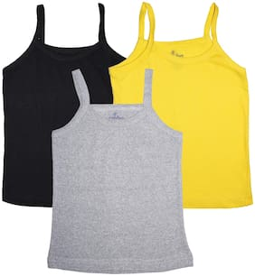 Girls Multi colors Solid Tank Top Pack of 3